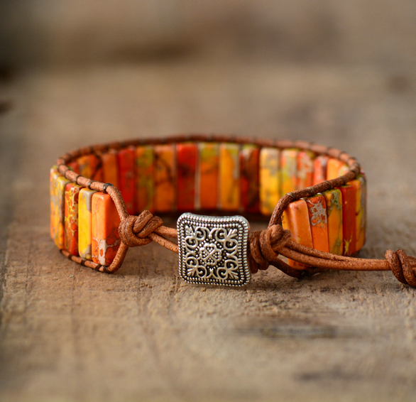 Women's Natural Stone Orange Bracelet Handmade with a Leather Strap