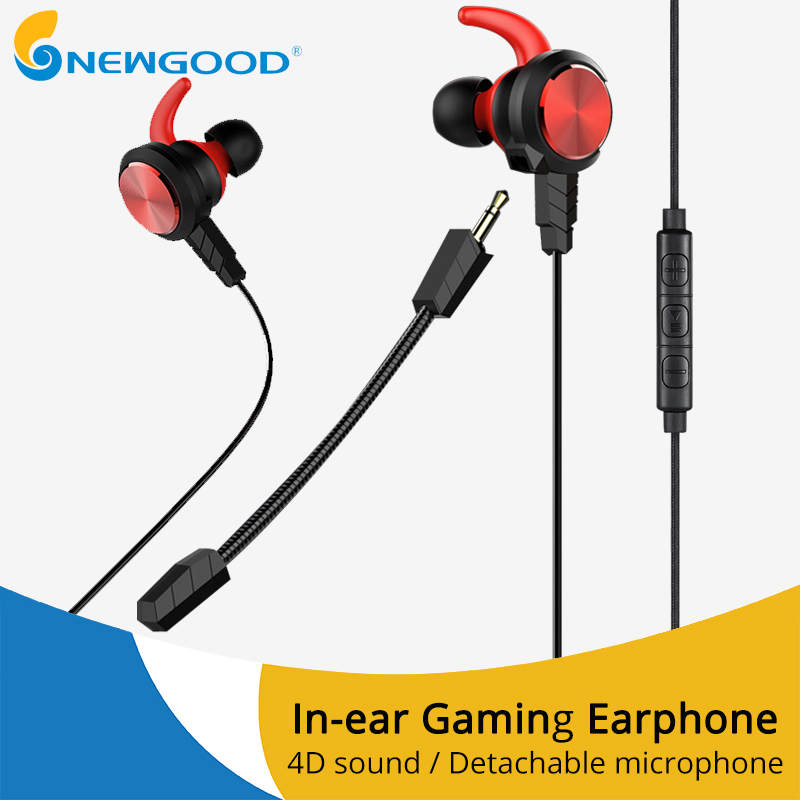 NEWGOOD Wired Earphone Bass Stereo Gaming Headset With Microphone PC Game Earphones With Detachable Mic For Computer PS4 original fashion computer game headphone wired gaming headset super bass stereo earphone with led light microphone for lol ps4