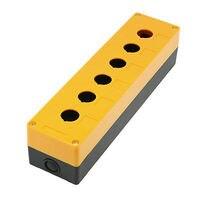 22mm Hole Six Push Button Switch Holder Control Box Case Yellow Black