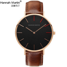 2017 New HANNAH MARTIN Top Brand Men Women Casual Quartz watch Simple style Fashion watch Unisex Clock Leather relogio feminino