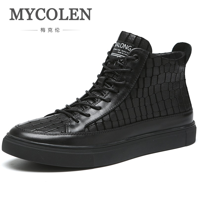 MYCOLEN New Brand Martin Boots 2018 Fashion Lace Up Super Warm Leather Men Boots High Top Classic Men Ankle Boots Askeri Bot цена