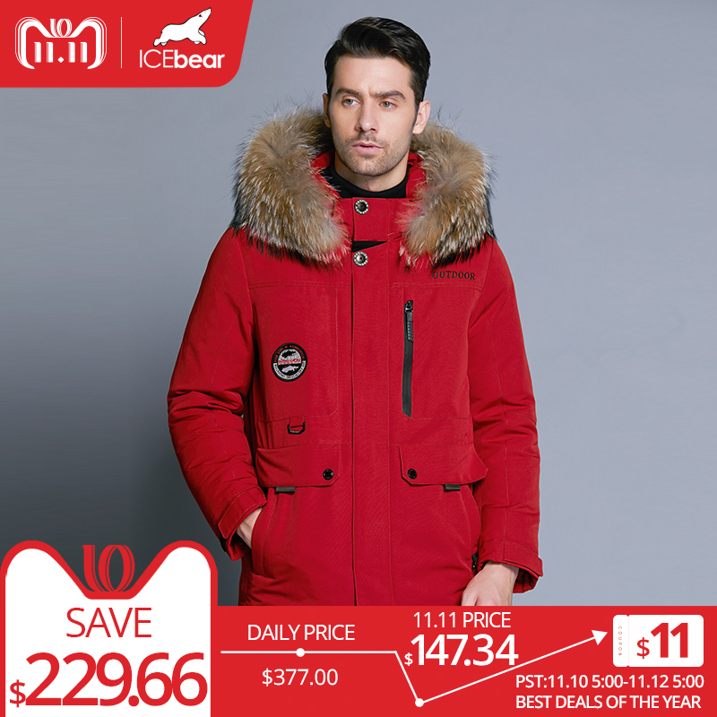 ICEbear 2018 nueva chaqueta de invierno para hombre de alta calidad abrigo de Cuello de piel desmontable sombrero y Cuello de piel ropa masculina MWY18940D