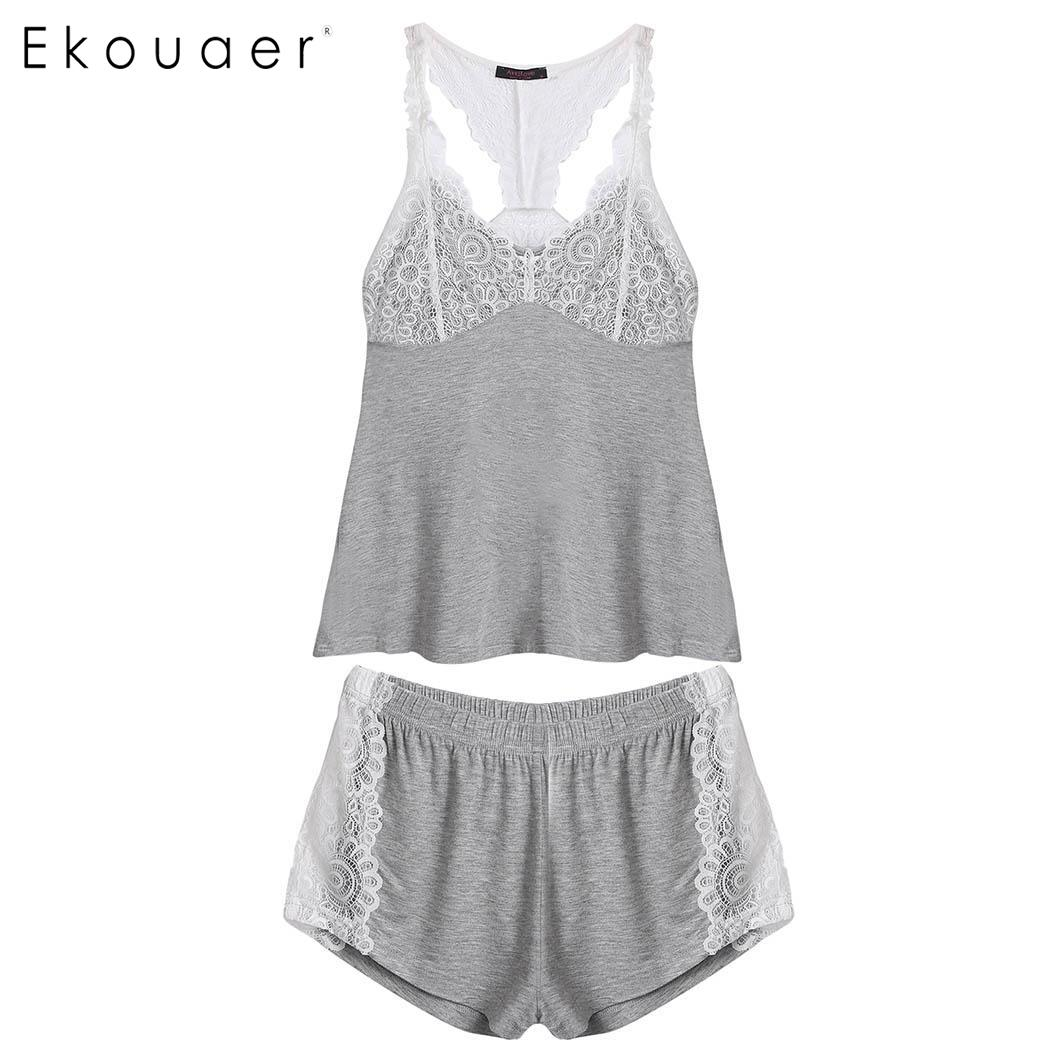 Ekouaer Women Pajamas Set Lace Trim Camisoles Top and Shorts Lounge Sleepwear Sexy Nightwear Suit Female Night Homewear