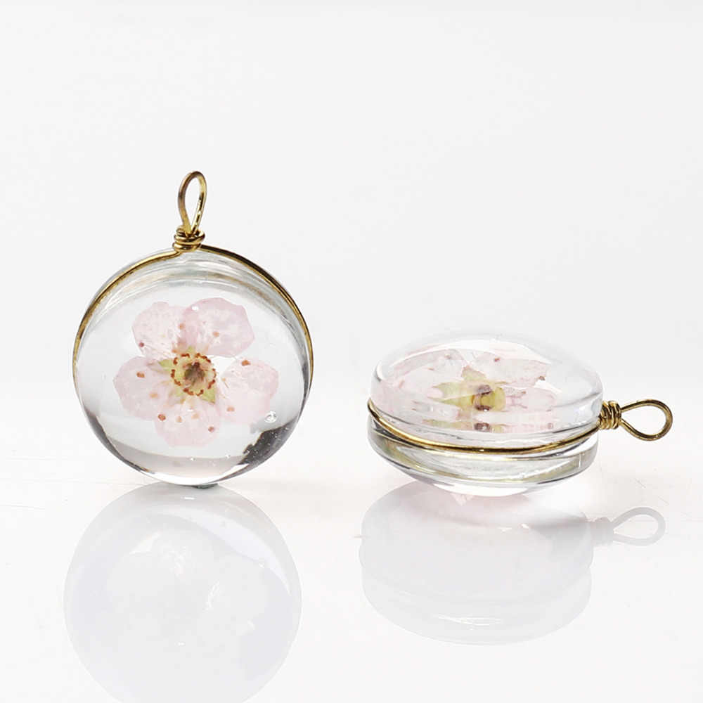"DoreenBeads Copper & Glass Charms Pendant Round Dried Flower Transparent Jewelry Accessories 19mm( 6/8"") x 14mm( 4/8""), 2 PCs"