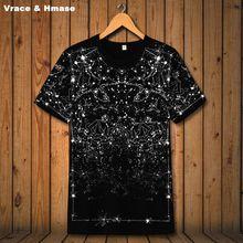 Американский стиль Созвездие звезда печать модная футболка с