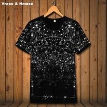 American style Constellation Star Printing fashion short sleeve t-shirt Summer 2018 New high quality elastic t shirt men S-6XL