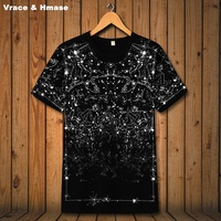 American style Constellation Star Printing fashion short sleeve t shirt Summer 2018 New high quality elastic t shirt men S 6XL