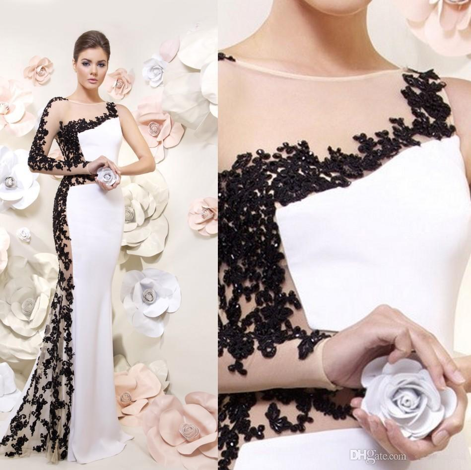 Black and white mermaid prom dress world dresses - 2015 Vestido De Festa Longo Formal Gown Long Sleeves Sexy Side Slit Mermaid Black Navy Bule