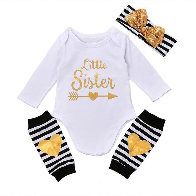 e515276e4d03 Newborn Baby Boy Bodysuit Little Sister Golden Sequins Print ...