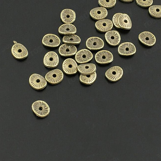 100PCS 6*5MM Zinc Alloy Gold Color Round or curved brushed disks Spacer Beads Diy Jewelry Findings Accessories