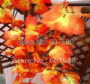 도매 50 개 2.4 메터 인공 붉은 단풍 잎 덩굴, 무료 배송 홈 및 정원 장식 가을 단풍 잎 매달려