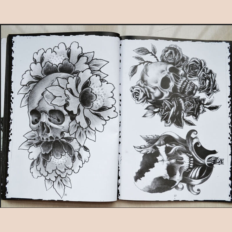 76 Pages Selected Skull Tattoo Books Design A4 Sketch Flash Book Tattoo Art Supplies