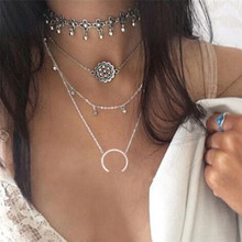 HOT Punk Multi Layer Chain Chokers Crystal Moon Flower Collar Necklace For Women Gothic Tattoo Necklaces Fashion Jewelry