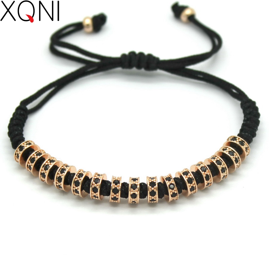 New Fashion Brand Macrame Bracelets, Rose Gold Micro Pave Black CZ Stoppers Beads Strand Macrame Bracelet For Men Jewelry new design stone bracelet men women popular stone bracelet skull micro pave cz beads skull male bracelet crown zircon bracelets