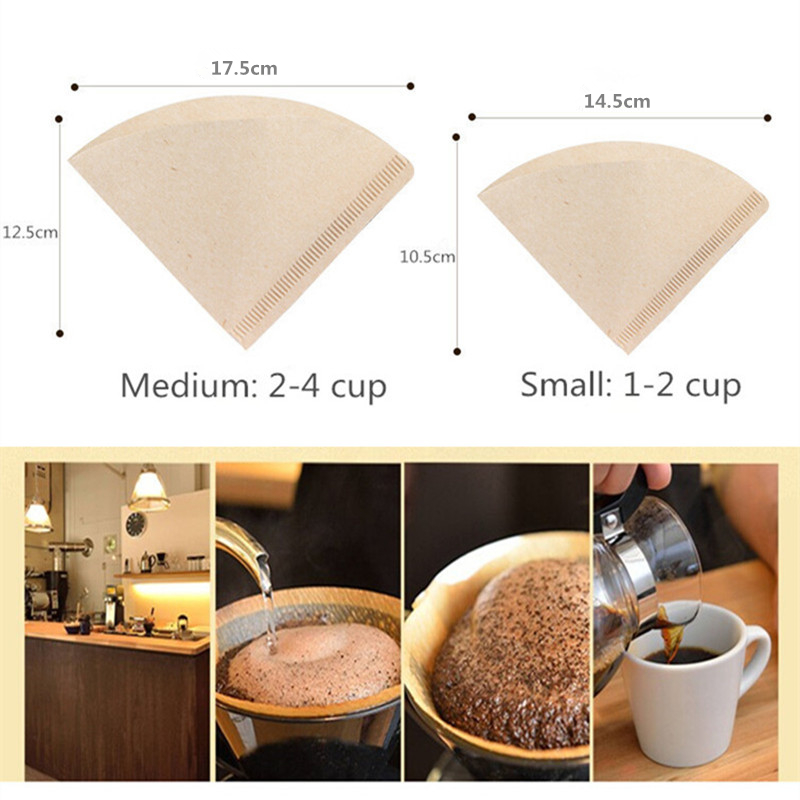 80Pcs V Shape Coffee Filter Paper 1-2Cup 2-4Cup For V60 Dripper Coffee Filter Cups Espresso Coffee Drip Tools Paper Filters
