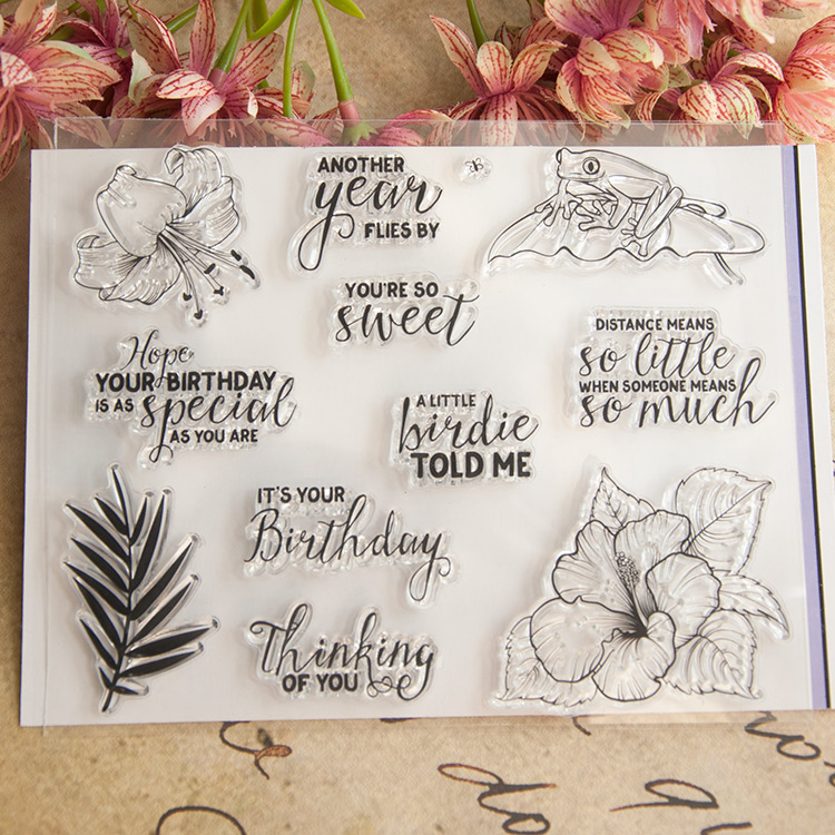 Clear stamp birthday flower Scrapbook DIY photo cards account rubber transparent seal handwork art Kid gift lovely animals and ballon design transparent clear silicone stamp for diy scrapbooking photo album clear stamp cl 278
