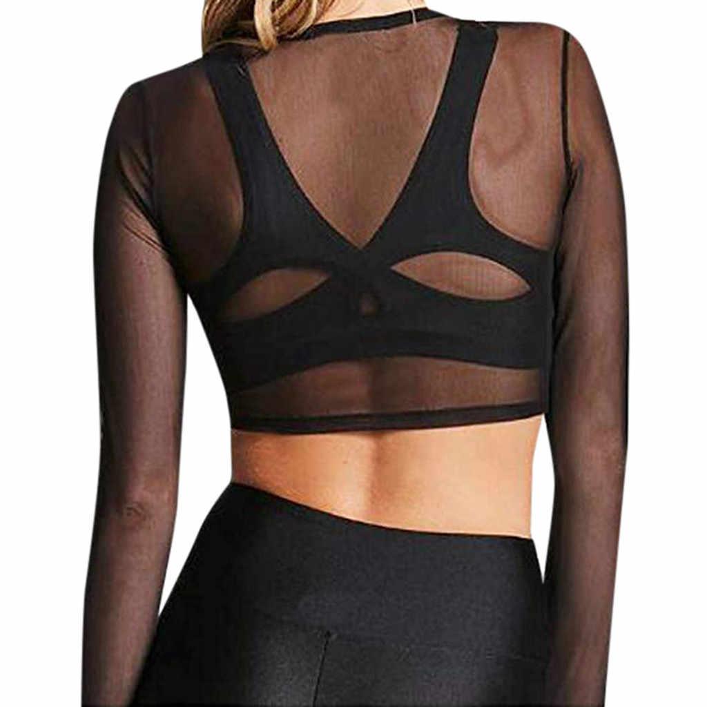 נשים סקסי Sheer יבול למעלה 2019 קיץ אופנה רשת סקסי טי חולצה חולצות בתוספת גודל Mujer ספורט Clubwear O-צוואר
