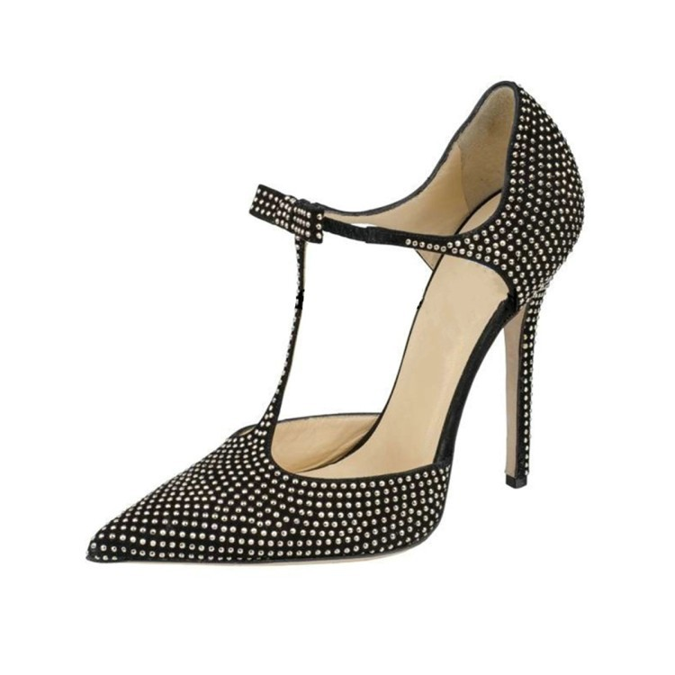 2018 newest black polka dot pumps sexy <font><b>12</b></font> <font><b>cm</b></font> high heels <font><b>sandals</b></font> rivet decor pointed toe dress party shoes butterfly-knot pumps image