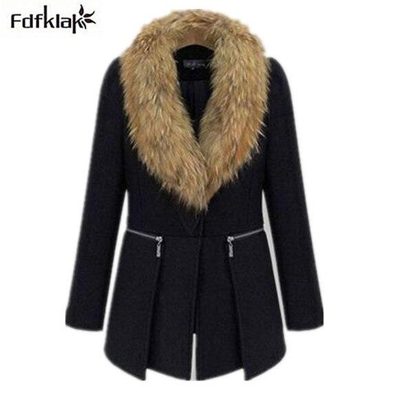 XL XXL 3XL 4XL 5XL, 6XL Plus Size Women Jacket 2017 Autumn Winter Coat Female Luxury Faux Fur Collar Wool Coat Q177