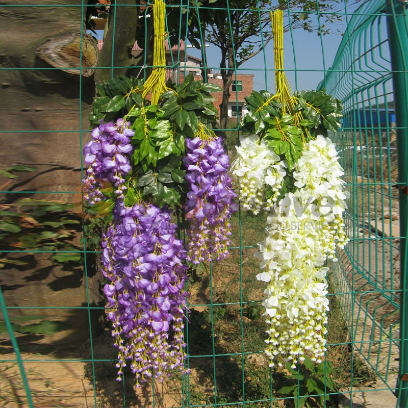 Aliexpress.com : Buy 24x Artificial Silk Wisteria Fake Hanging Flower Vine  Wedding Garden Decor White From Reliable Garden Decor Ideas Home Suppliers  On ...