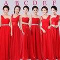 2016 Caliente de Color Rojo Largo Sin Tirantes Piso-Longitud del A-line de La Gasa Vestidos de dama de Honor Con 6 Estilos Envío gratis