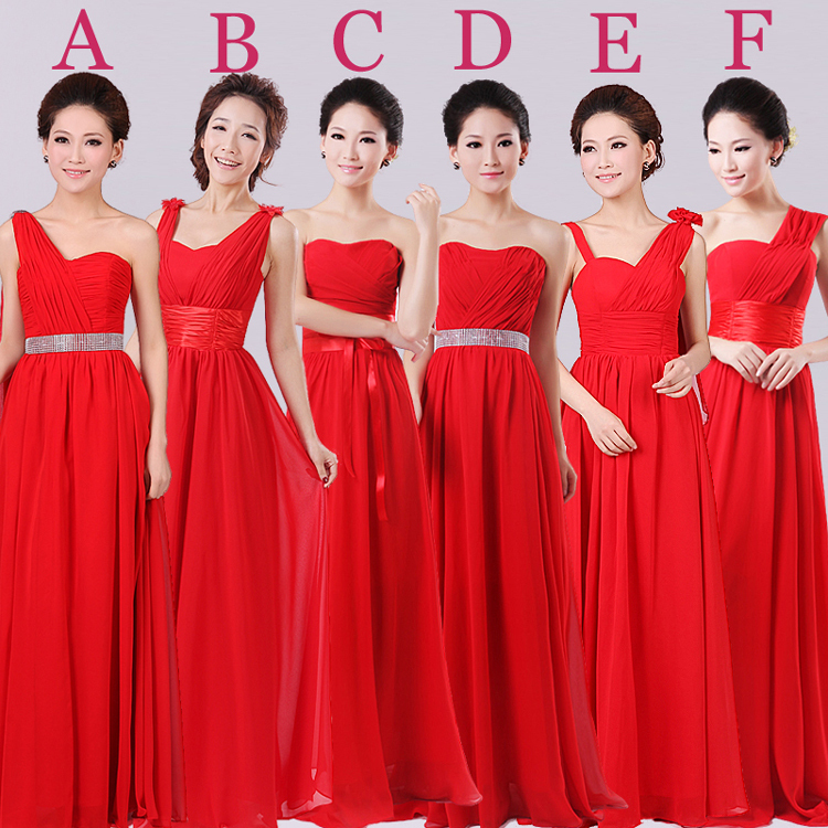 2016 Hot Red Color Strapless Long Floor Length A-line Chiffon Dama de honor vestidos con 6 estilos Envío gratis