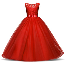 Fancy Children Girls Dresses For Teenage Girl Long White Princess Dress Girls Party Frocks Christmas Evening Party Prom Gown(China)