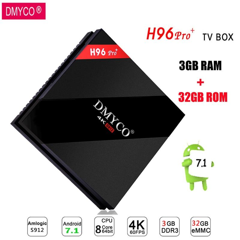 DMYCO H96 Pro Android 7.1 Smart TV Box 3GB/32GB ROM Amlogic S912 Octa Core 4K HD Set Top Box BT 4.1 Support iptv Media Player h96 pro tv box amlogic s912 3gb 32gb octa core android 7 1 os bt 4 1 2 4ghz 5 0ghz wifi mini pc media player smart set top box