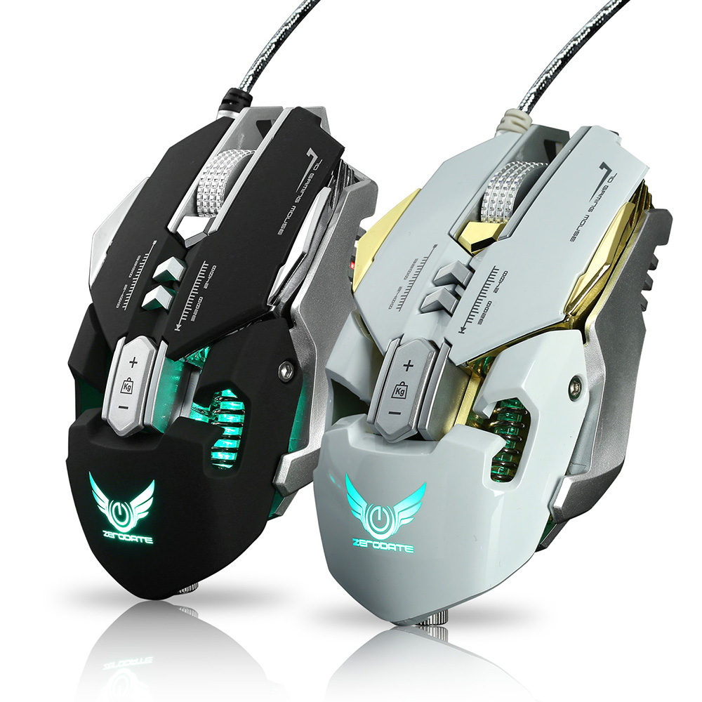 ZERODATE X300 Mechanical Programmable Gaming Mouse Ergonomic Adjustable 3200DPI+