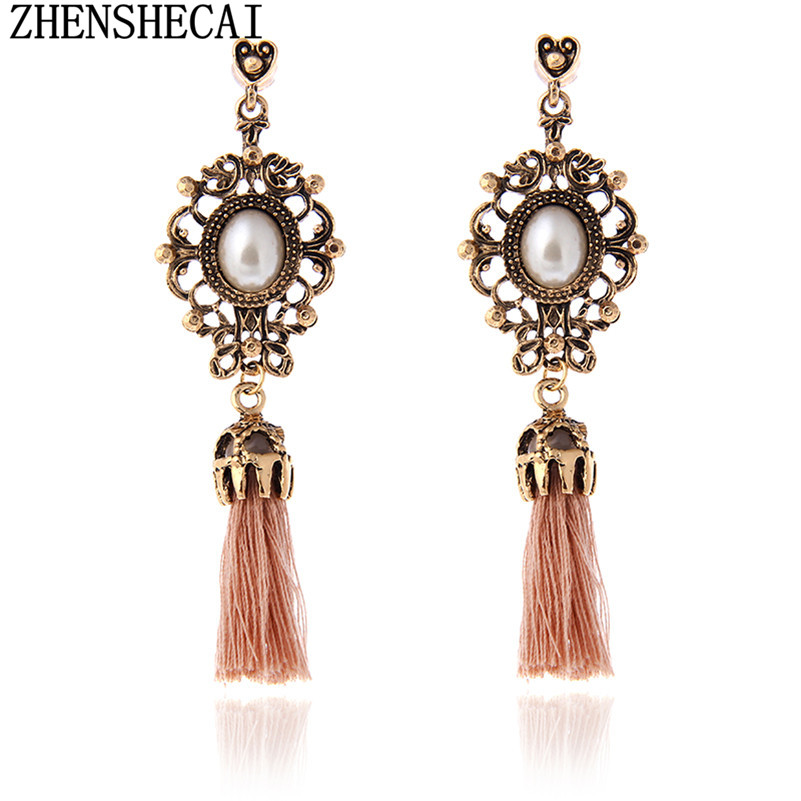 Vintage Crystal Earring Exquisite Handmade Many Colors Tassel Earring For Women Ethnic Fashion Party Jewelry Wholesale A32