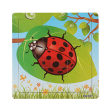 Fashion Wooden Ladybug Jigsaw Toys For Kids Education And Learning Puzzles Toy Free Shipping