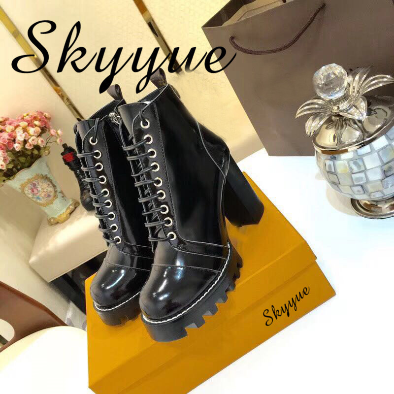 SKYYUE New Genuine Leather Gladitaor Lace Up Women Winter Boots Round Toe Platform Thick Heel Chunky
