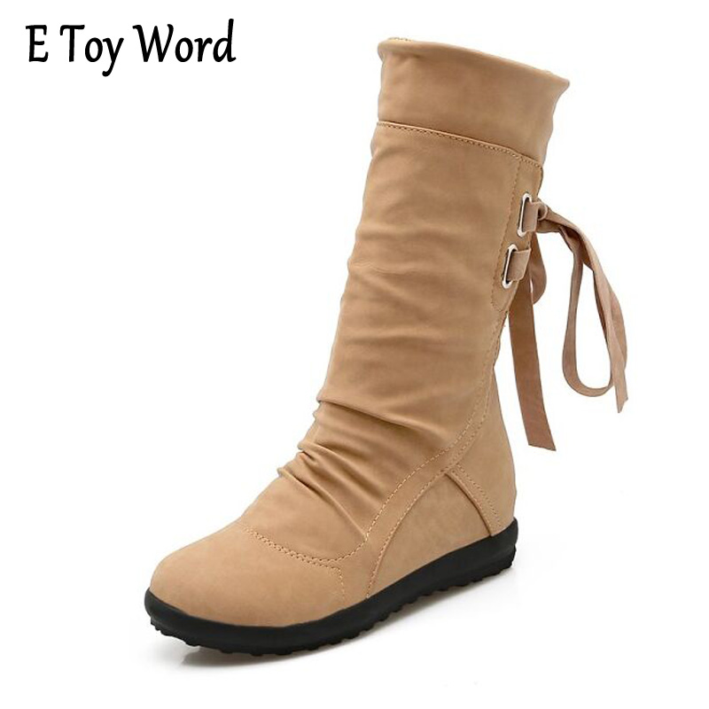 E TOY WORD 2017 Autumn Women Mid-Calf Leather Boots Fashion Flat With Boots Woman Waterproof Lace Up Shoes Women Bota Feminina double buckle cross straps mid calf boots