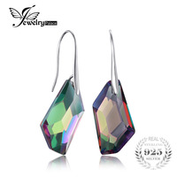 Fancy Cut 27ct Genuine Gem Stone Natural Rainbow Fire Mystic Topaz Dangle Earrings Drop Real Solid