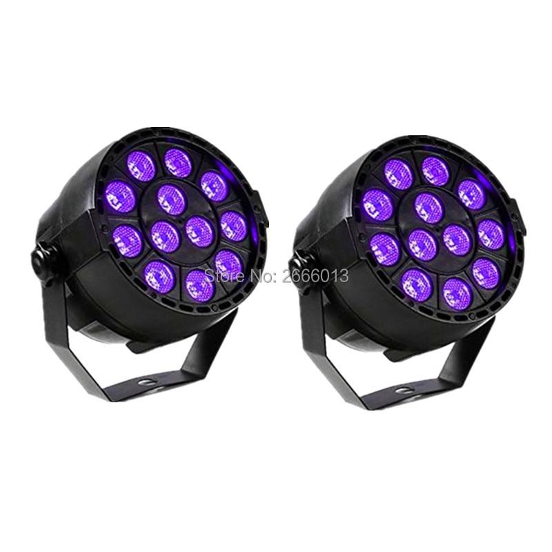 2pcs/lot Purple LED PAR Light DMX Stage Lighting Effect DMX512 Master-Slave Led Flat PAR for DJ Disco Xmas Party Violet LED lamp