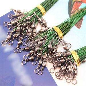 Trace-Lure Fishing 72pcs Wire-Spinner Snaps Coated Leader-Hooks Swivel-Interlock Stainless-Steel