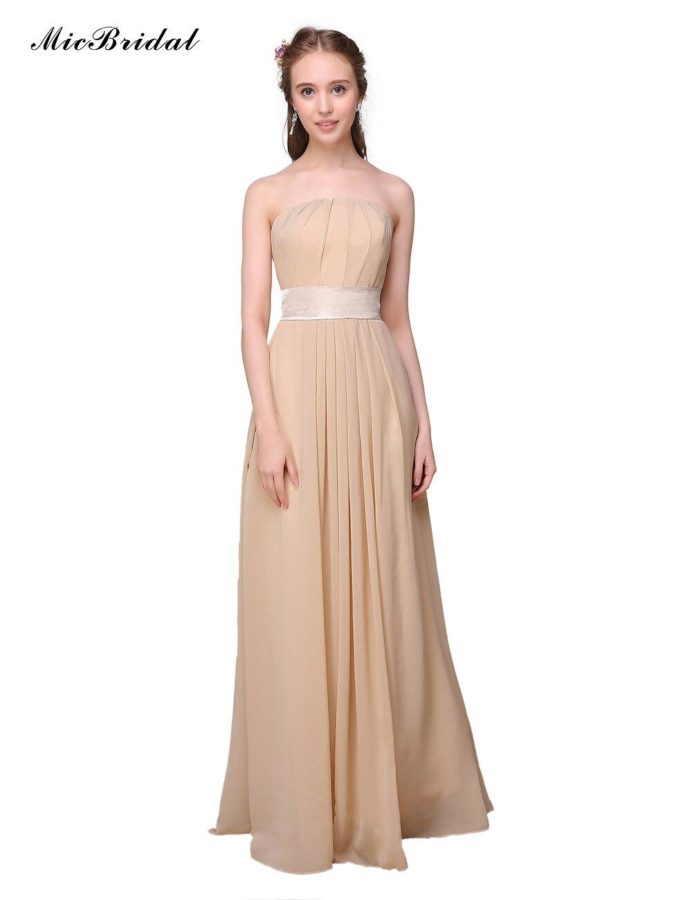 d05d65650f85 MicBridal Strapless Long Chiffon Champagne Bridesmaid Dresses 2016 Vestido  Madrinha MZ 057 Simple Wedding Guest Dresses-in Bridesmaid Dresses from  Weddings ...