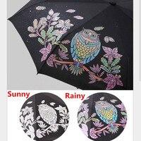 Cute Owl Three Folding UV Protection Rain Travel Umbrellas Magic Changing Color After Water Pocket Umbrella