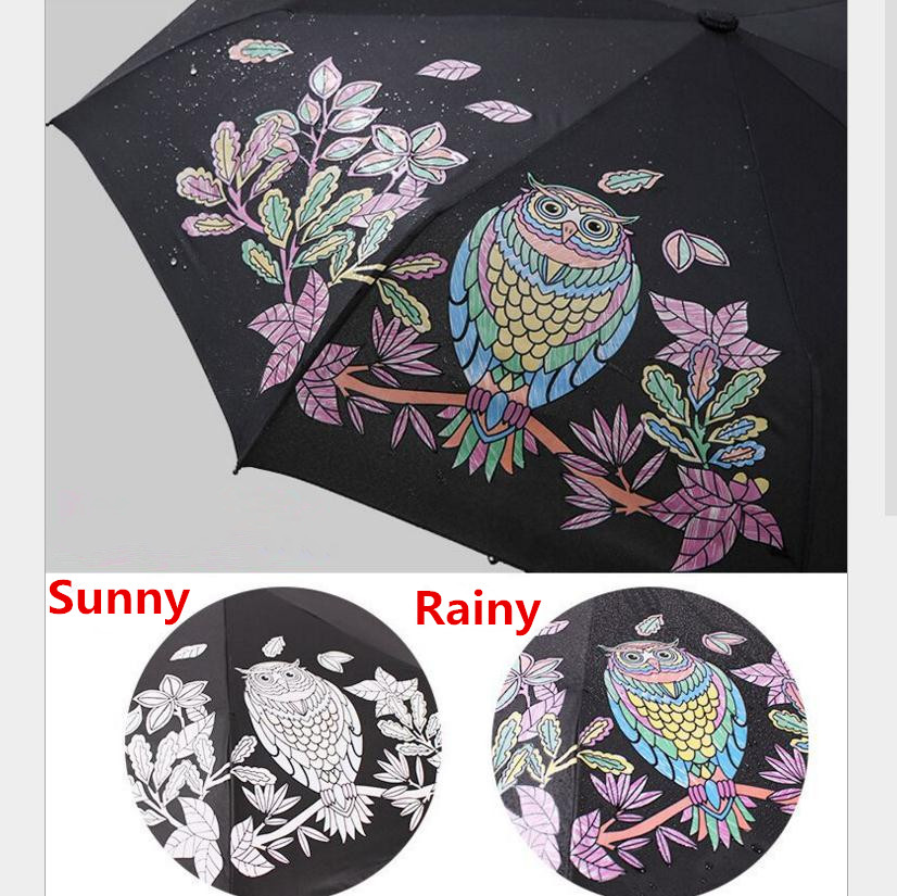 Cute Owl Three Folding UV-Protection Rain Travel Umbrellas Magic Changing Color After Water Pocket Umbrella Gift for Lovers