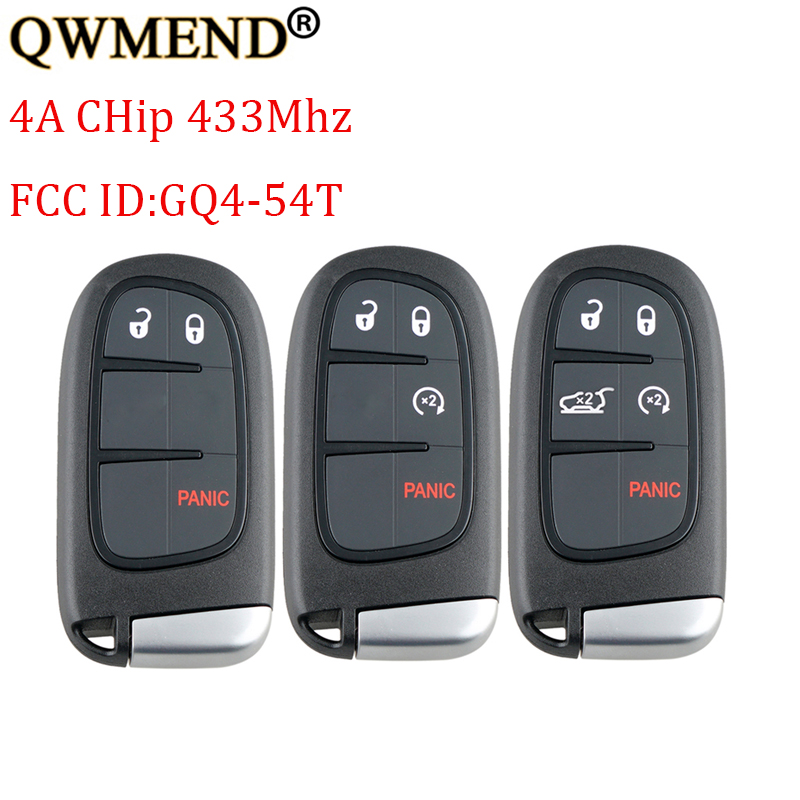 QWMEND Remote Car-Key JEEP Smart 433mhz 4a/pcf7953m-Chip For GQ4-54T Cherokee