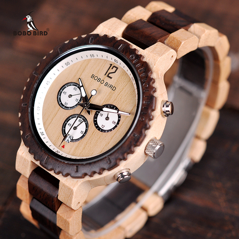 BOBO BIRD Wooden Watch Men Relogio Masculino Luxury Stylish Timepieces Chronograph Military Quartz Watches Great Gift for Men-in Quartz Watches from Watches