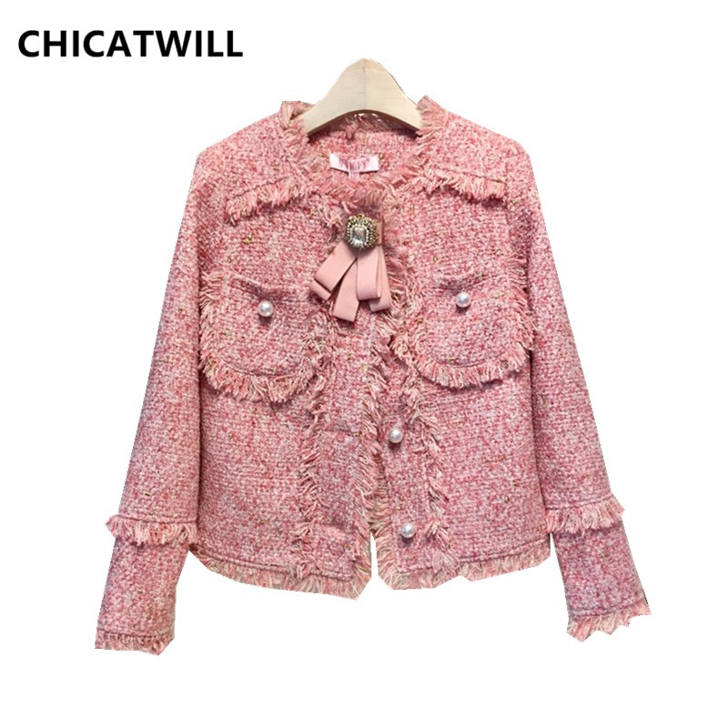 CHIC 2019 Autumn Winter Women Bowtie Pearl Tassels Tweed Jackets Ladies Casual Tops Outerwears Free Drop Shipping Wholesale