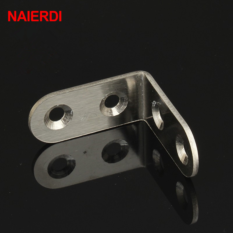 NAIERDI 2pcs 40x40x20mm Practical Stainless Steel Corner Brackets Joint Fastening Right Angle 2MM Thickened Furniture Bracket