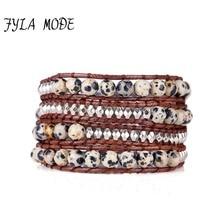 купить Fyla Mode Exquisite Quail Egg Natural Stones 4 Layered Immitation Leather Wrap Bracelets Antique Weaving Bracelet Dropship Boho по цене 323.39 рублей