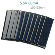 Купить с кэшбэком 10pcs 100*28mm 5.5V 60mA Solar Panel DIY Photovoltaic Solar Cell Car Charger Lamp Light  Sun Power Solar Charger