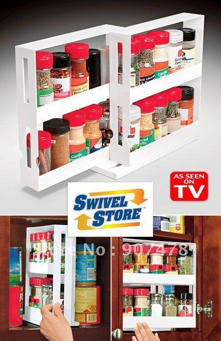 Aliexpress.com : Buy Free Shipping 40pcs/lot Swivel Store Spice Rack As Seen  On TV Swivel Store Space Saving Cabinet