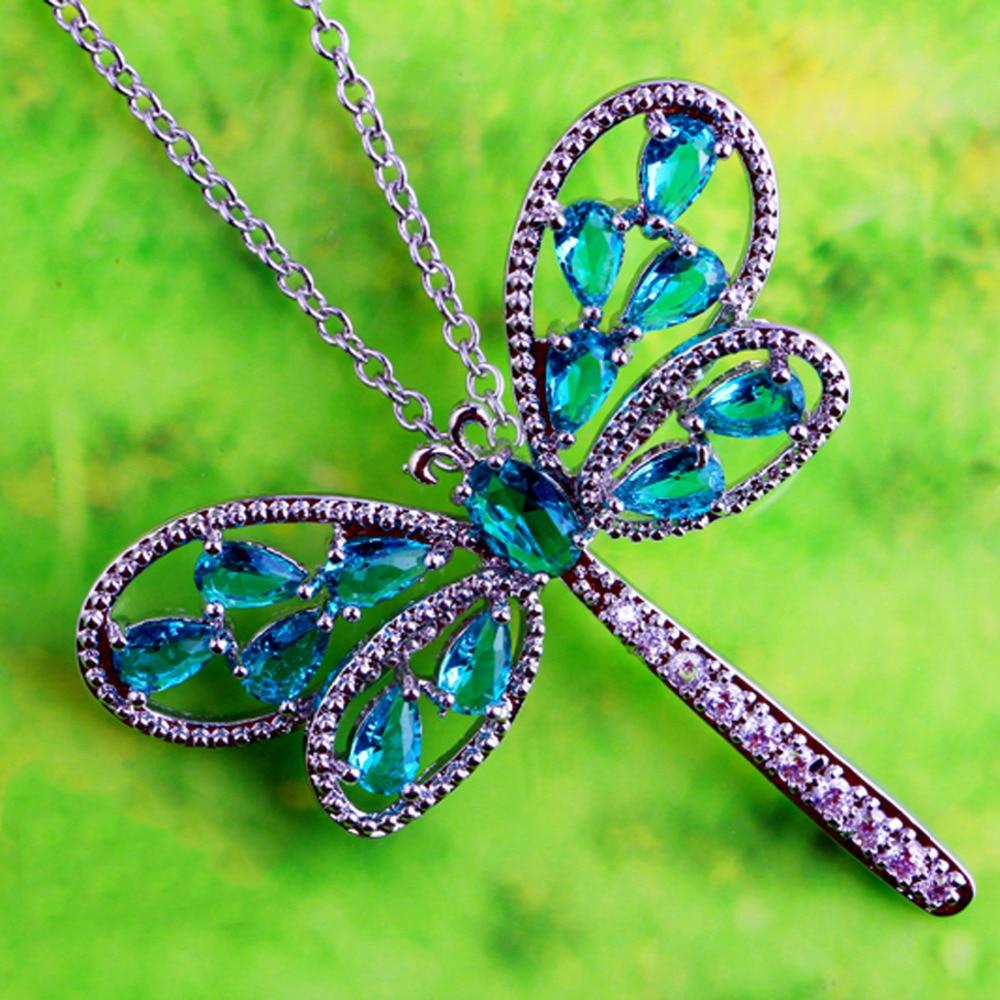 Jrose nova moda feminina dragonfly design verde & branco cz prata cor pingente sem corrente colar de noivado jóias