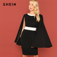SHEIN Black Office Lady Colorblock Pearl Beading Contrast Panel Cape Cloak Sleeve Skinny Dress Autumn Elegant Women Dresses