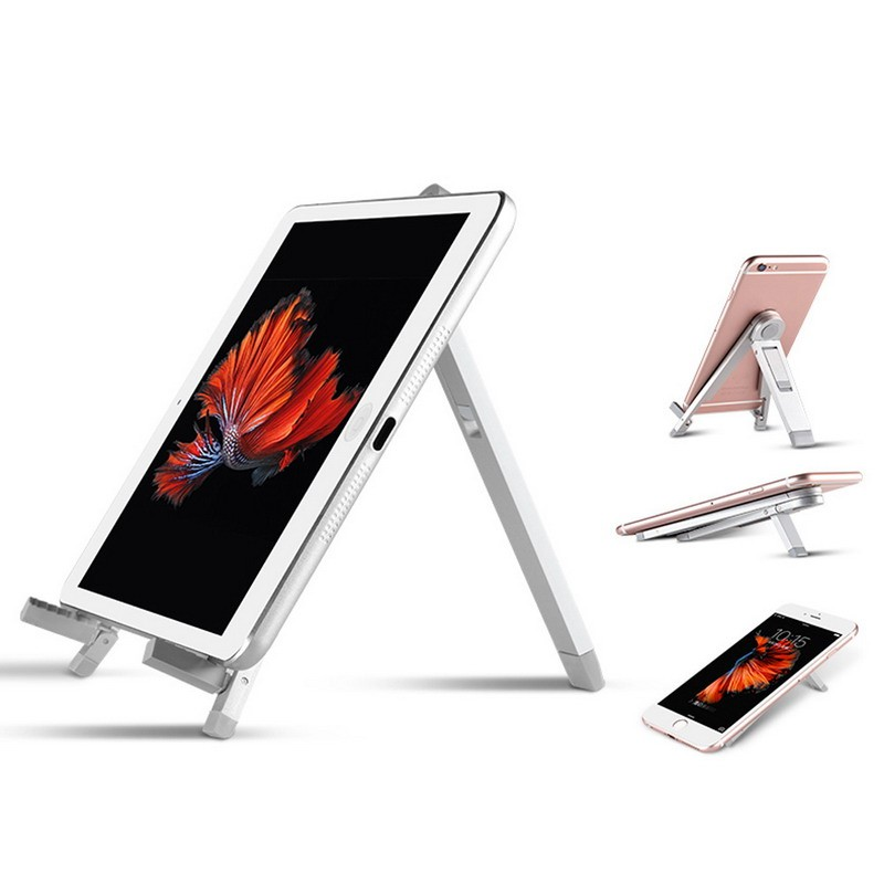 Universal Foldable Tablet Stand Aluminum Alloy Triangle Desk Holder Stand Tablet Holder For Ipad Tablet PC 5'' 7'' Silver Black