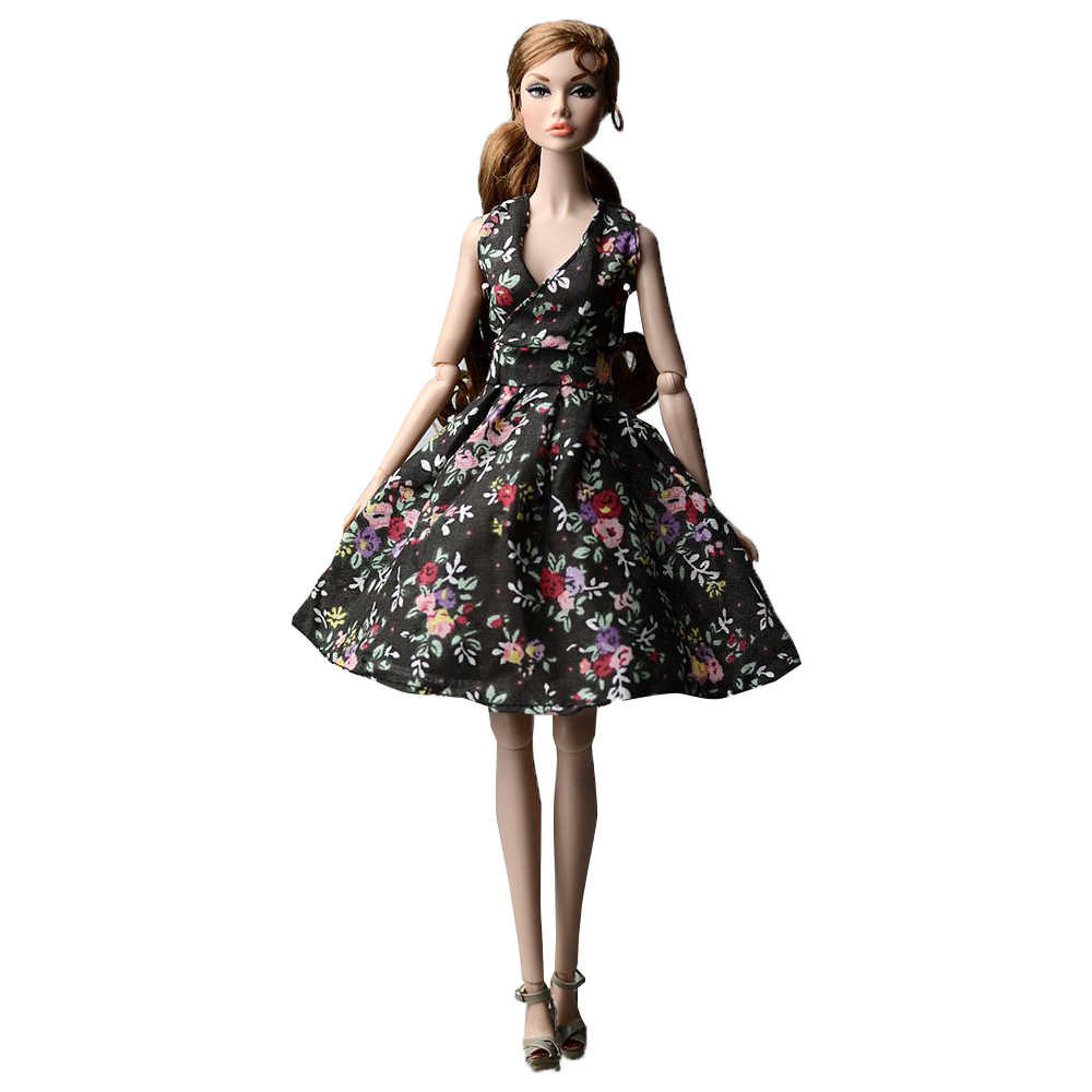 NK 2020 Mix New Doll Noble black Floral Dress Beautiful Handmade Party Fashion Skirt For Barbie Doll Best Children Girl Gift JJ